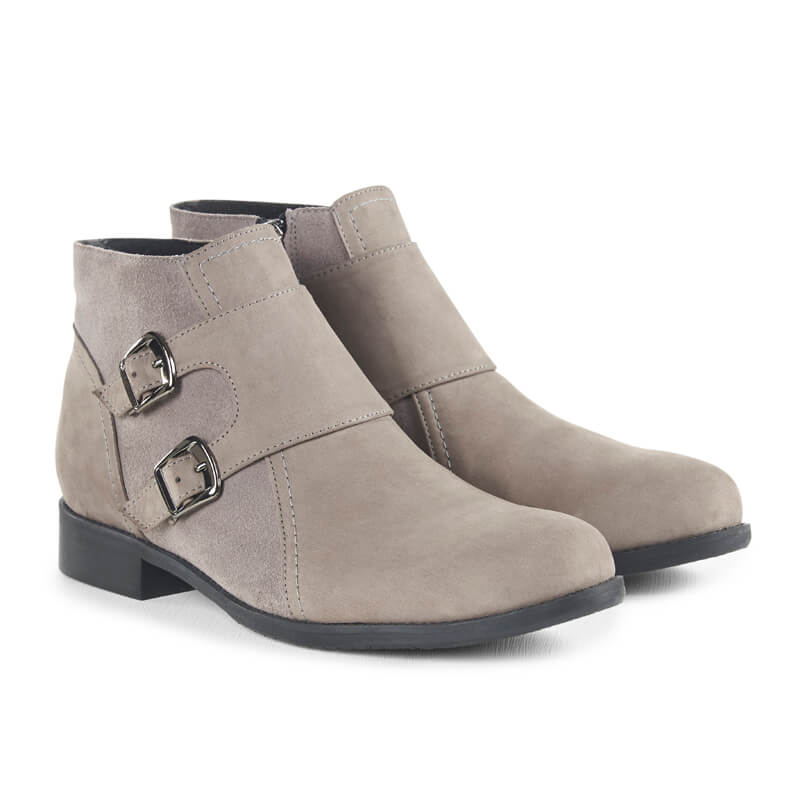 Grey nubuck monkstrap ankle boots
