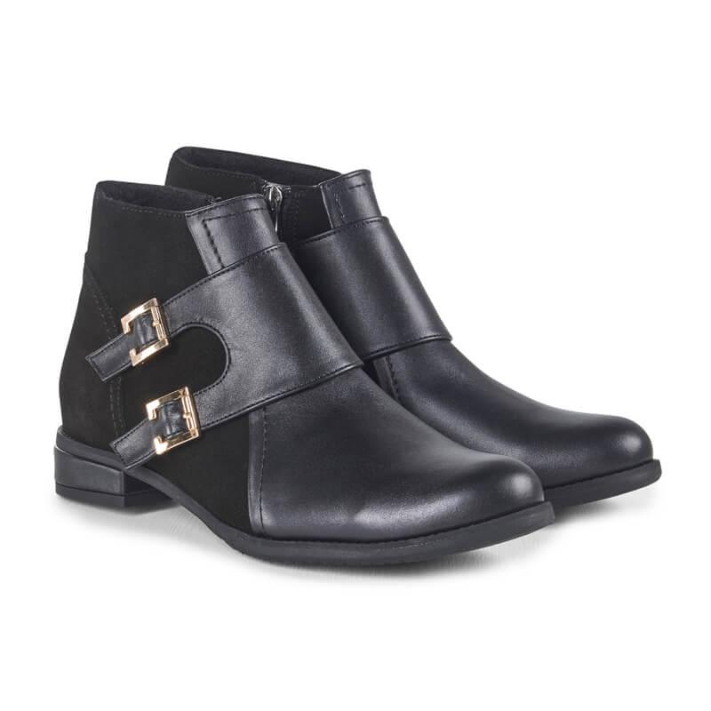 Fran black leather monkstrap ankle boots