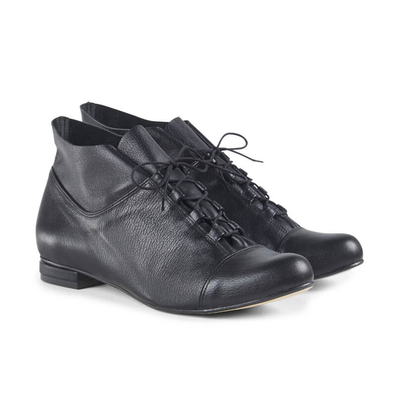 Ella black leather lace-up ankle boots