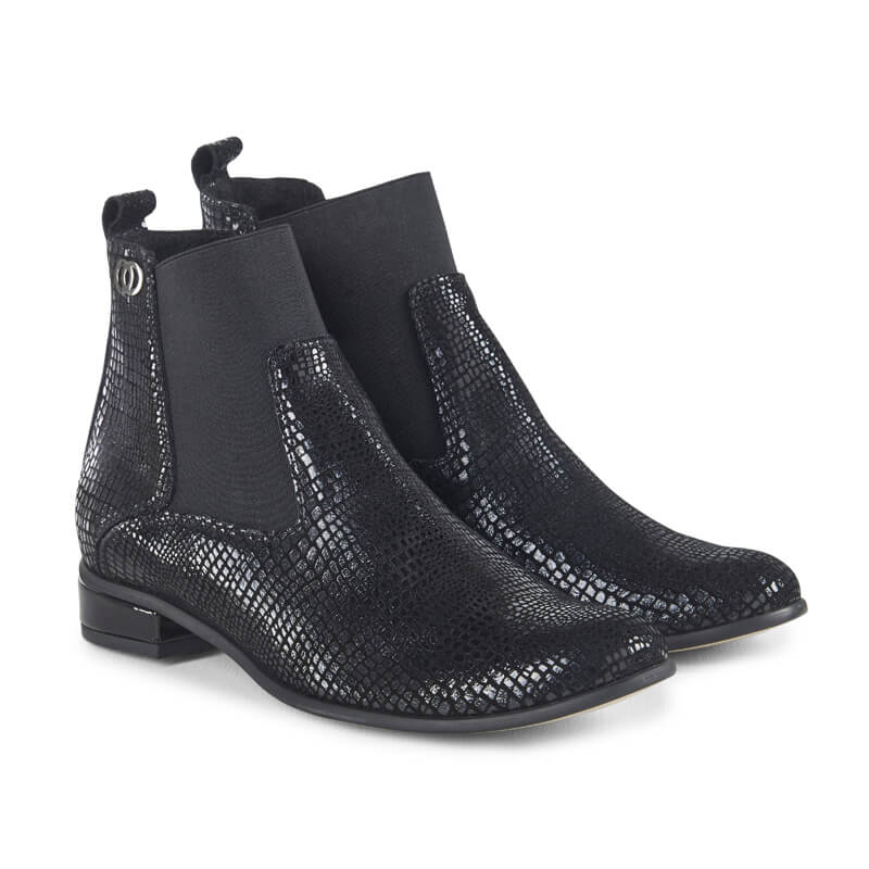 Mamba black snake-effect leather ankle boots