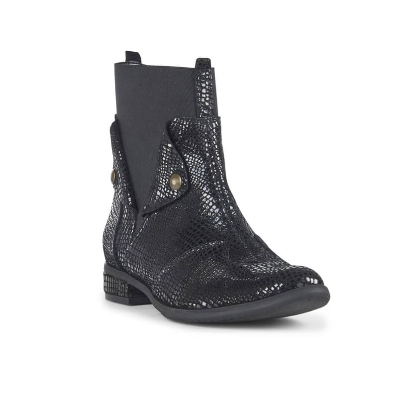 Diego black suede fold-down ankle boots