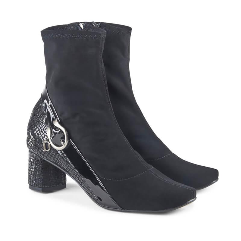 Meg black snake-effect insert sock boots