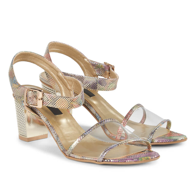 Nude gold leather & transparent heeled sandals