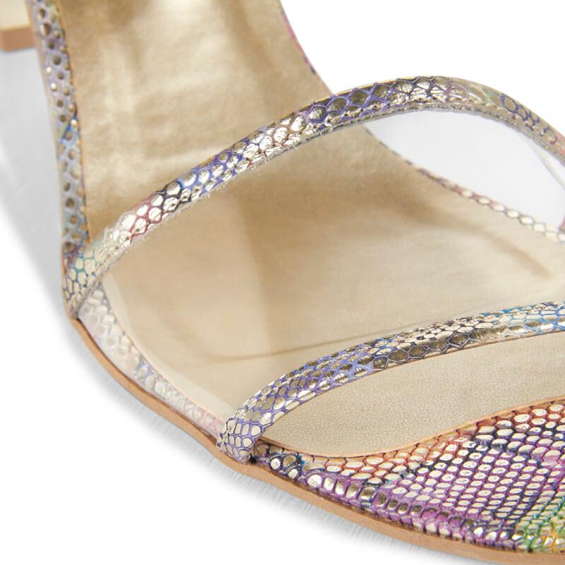Nude gold leather & transparent heeled sandals
