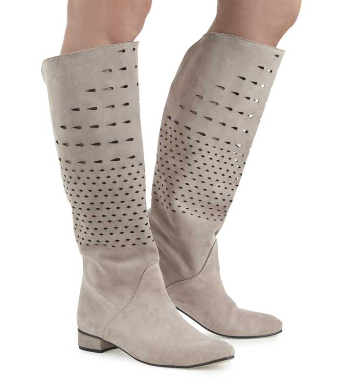 Agatha Taupe Suede Knee High Boots