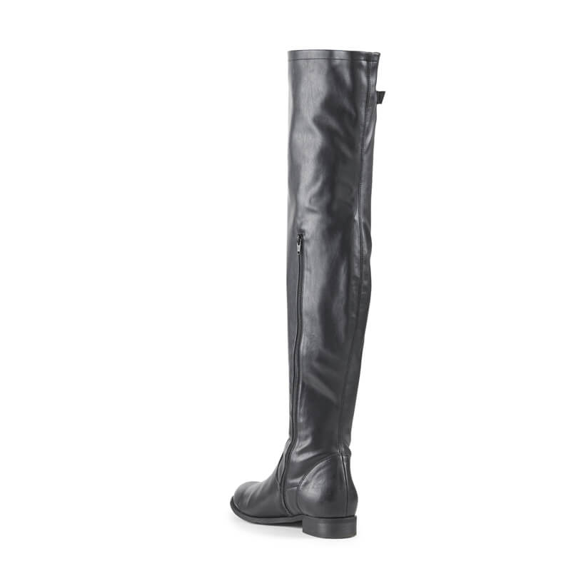 Paula black faux leather over-the-knee boots