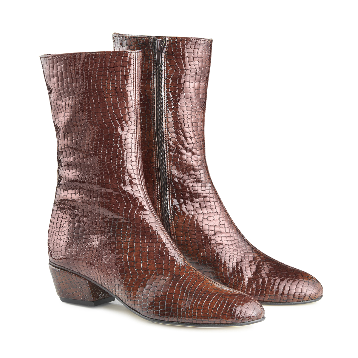 Belle Ankle Boots - Brown Croc