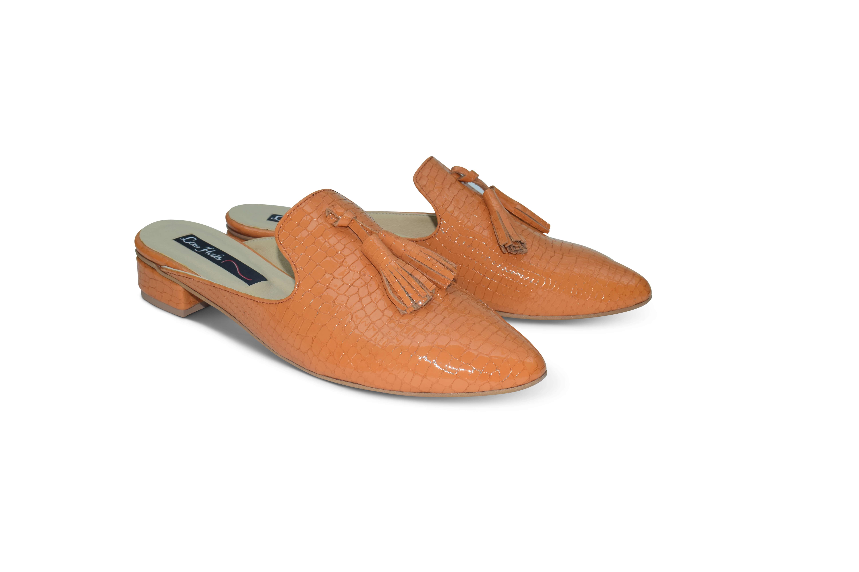 Beya pointed toe flat mule with tassels - orange