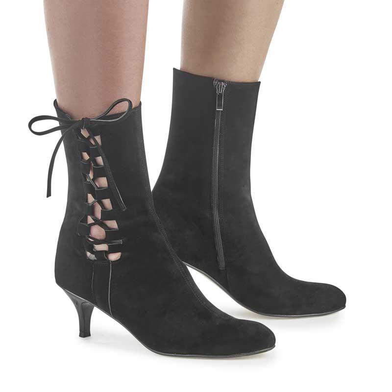 Celine Black Suede Kitten Heel Ankle Boots