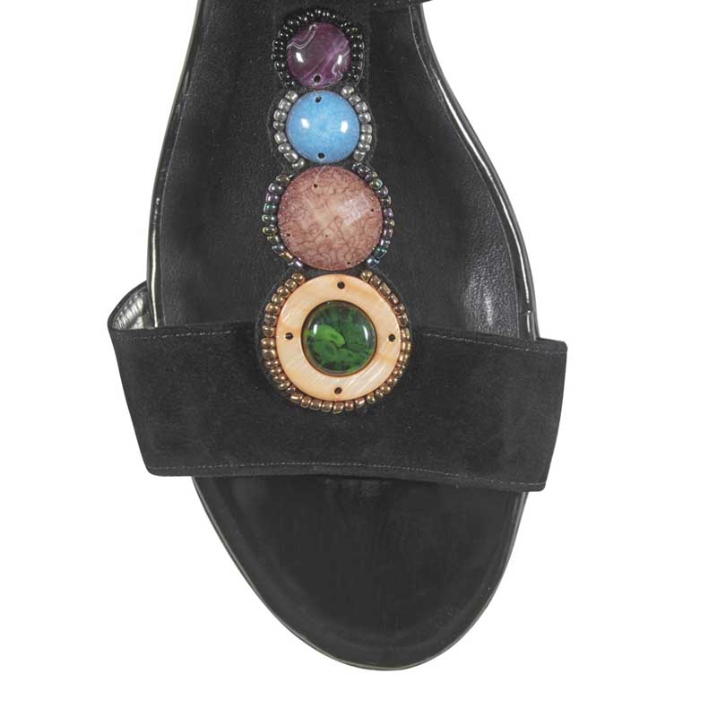 Chrysanti black suede embellished sandals