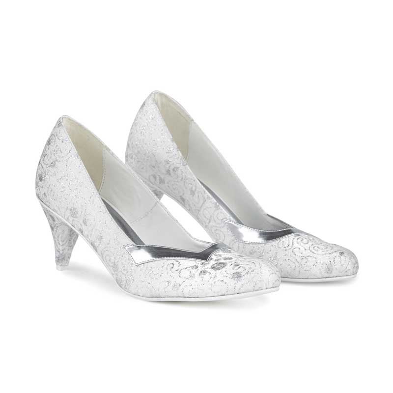Coleen White & Silver Lace-effect High Heels
