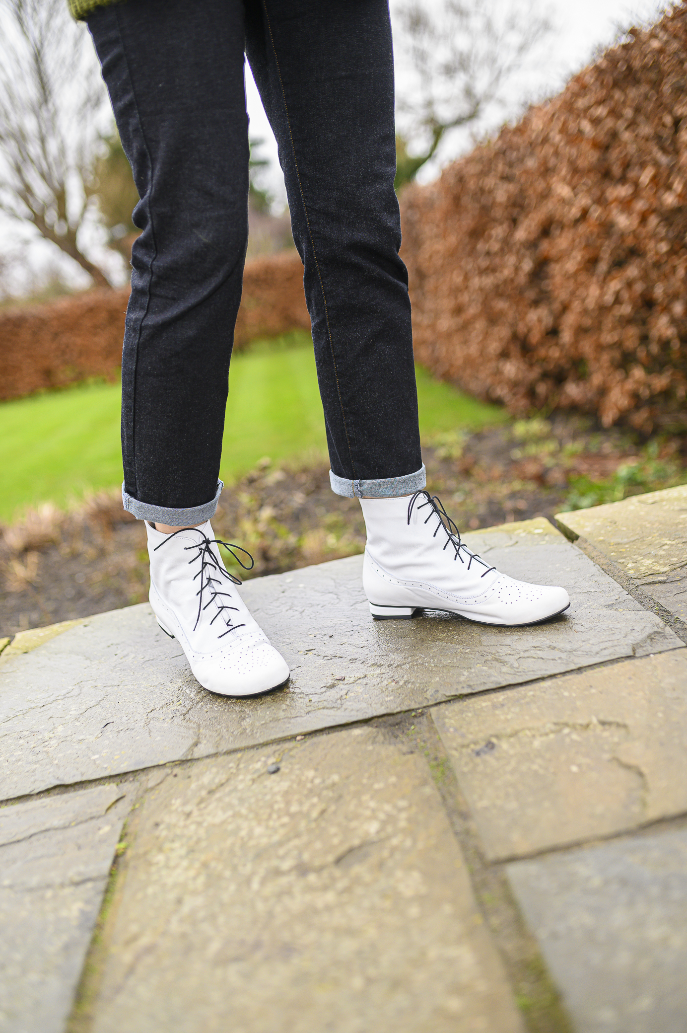Cammy white brogue-detail lace-up ankle boots