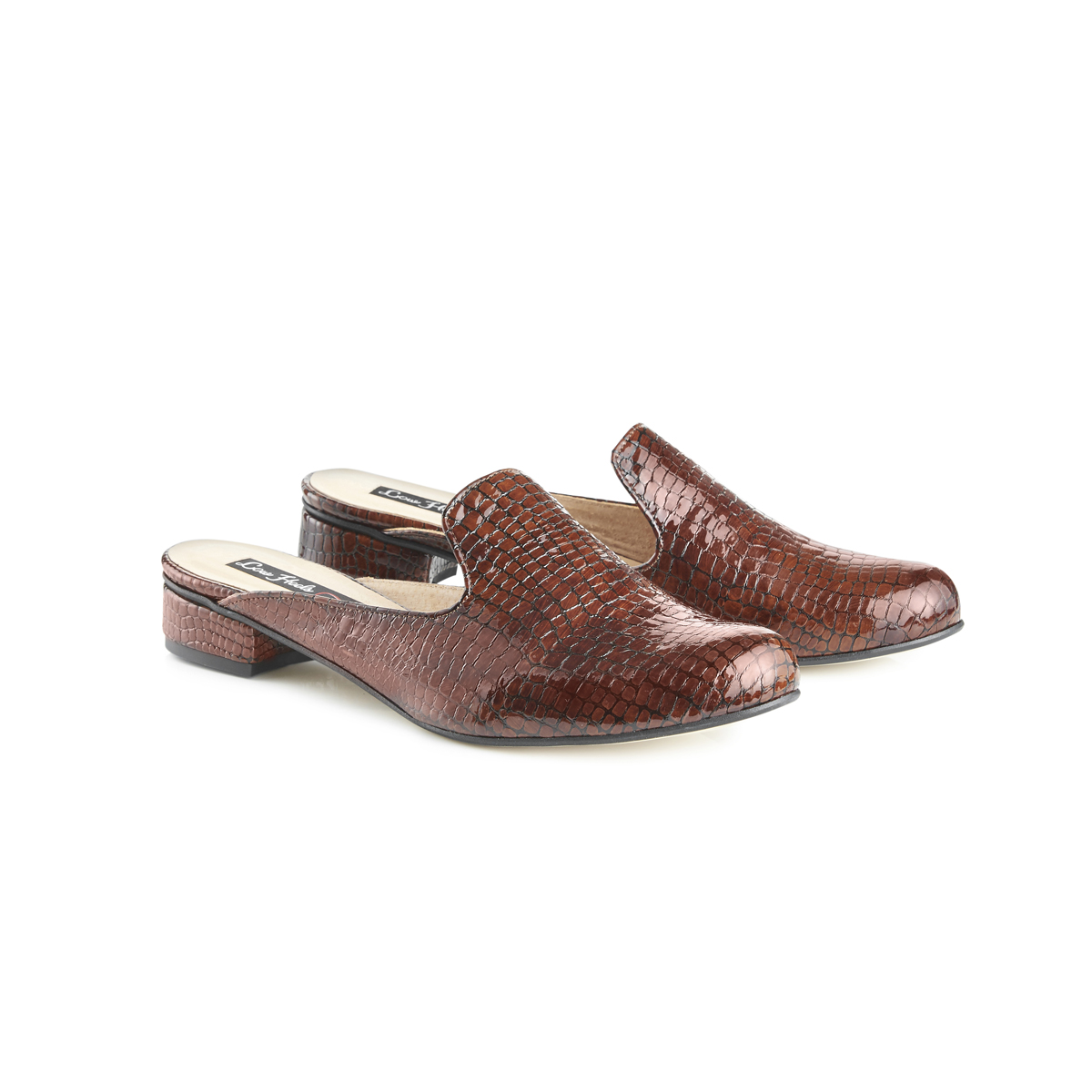 Charlie croc leather flat slip-on mules - brown