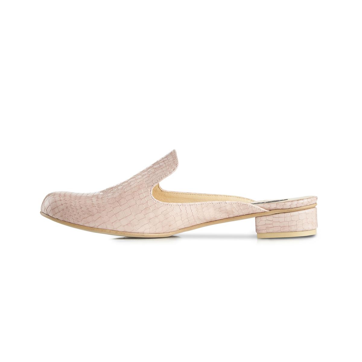 Charlie croc leather flat slip-on mules - pink