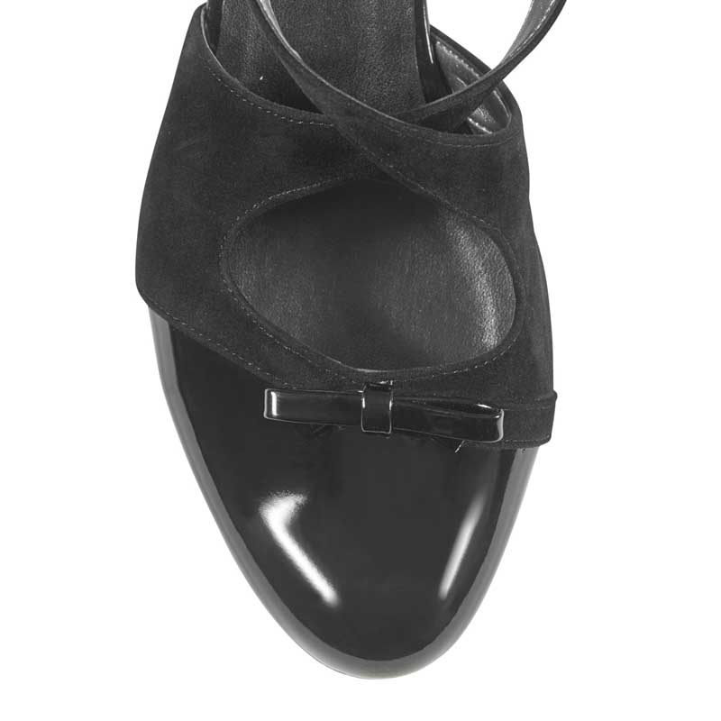 Dolly black suede & patent cross-over flats