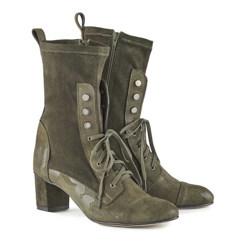 Eula Camo Suede & Leather Lace-up Ankle Boots
