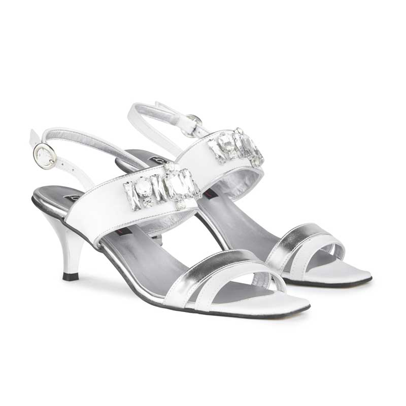 Gabrielle Silver & White Leather Sandals