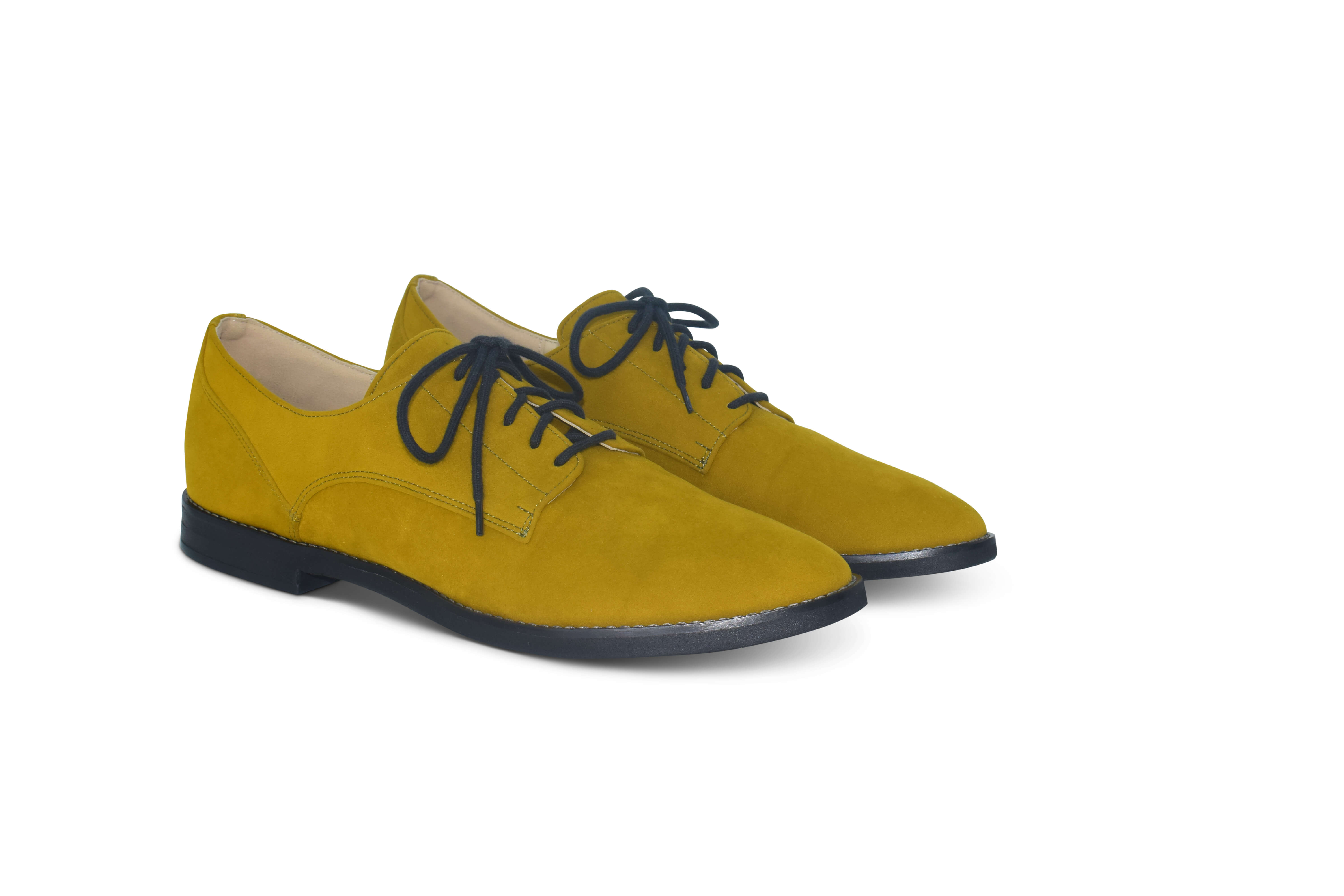 Harriett faux suede pointed toe Oxfords - mustard yellow