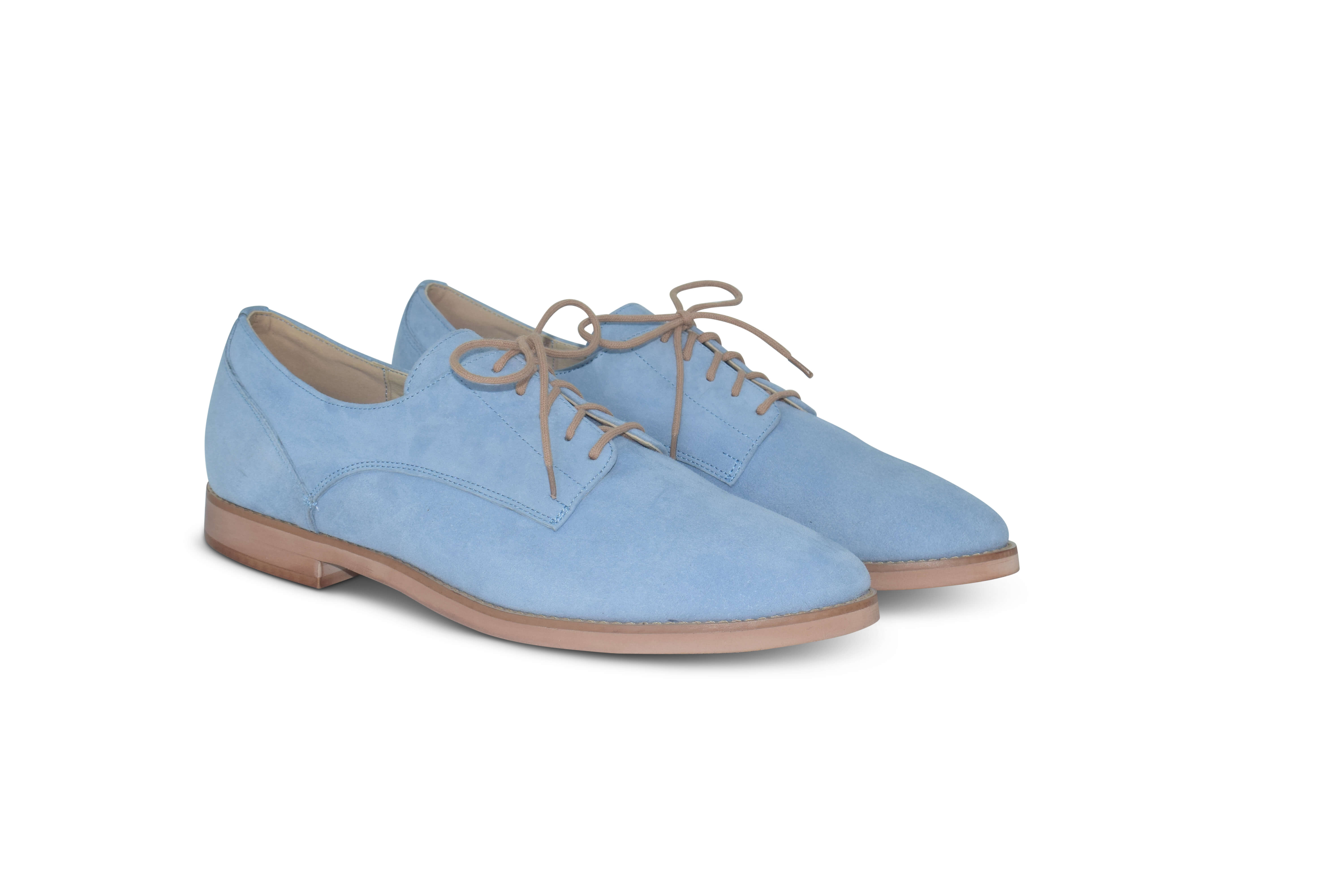 Harriett leather pointed toe Oxfords - light blue