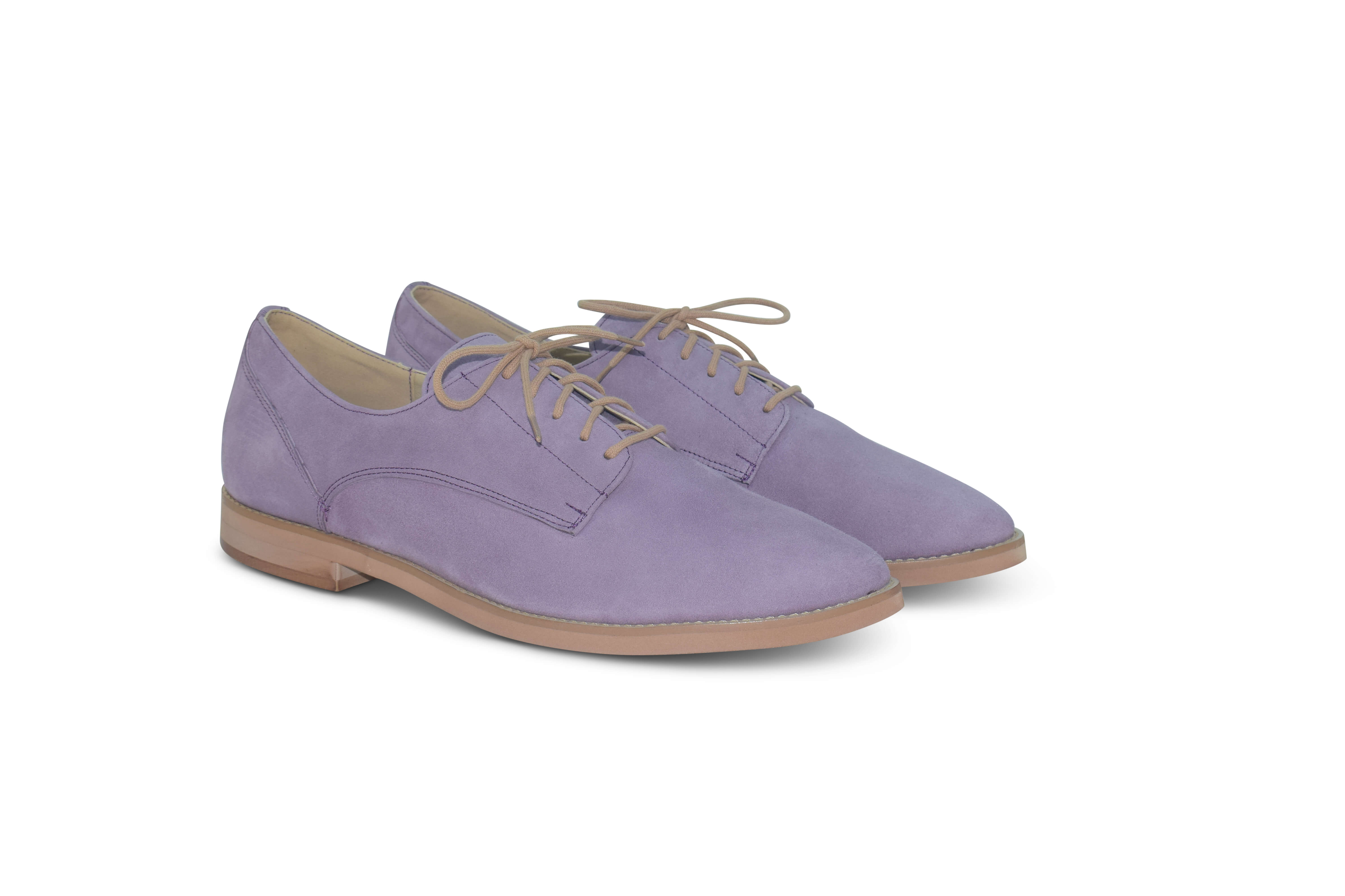 Harriett leather pointed toe Oxfords - lilac