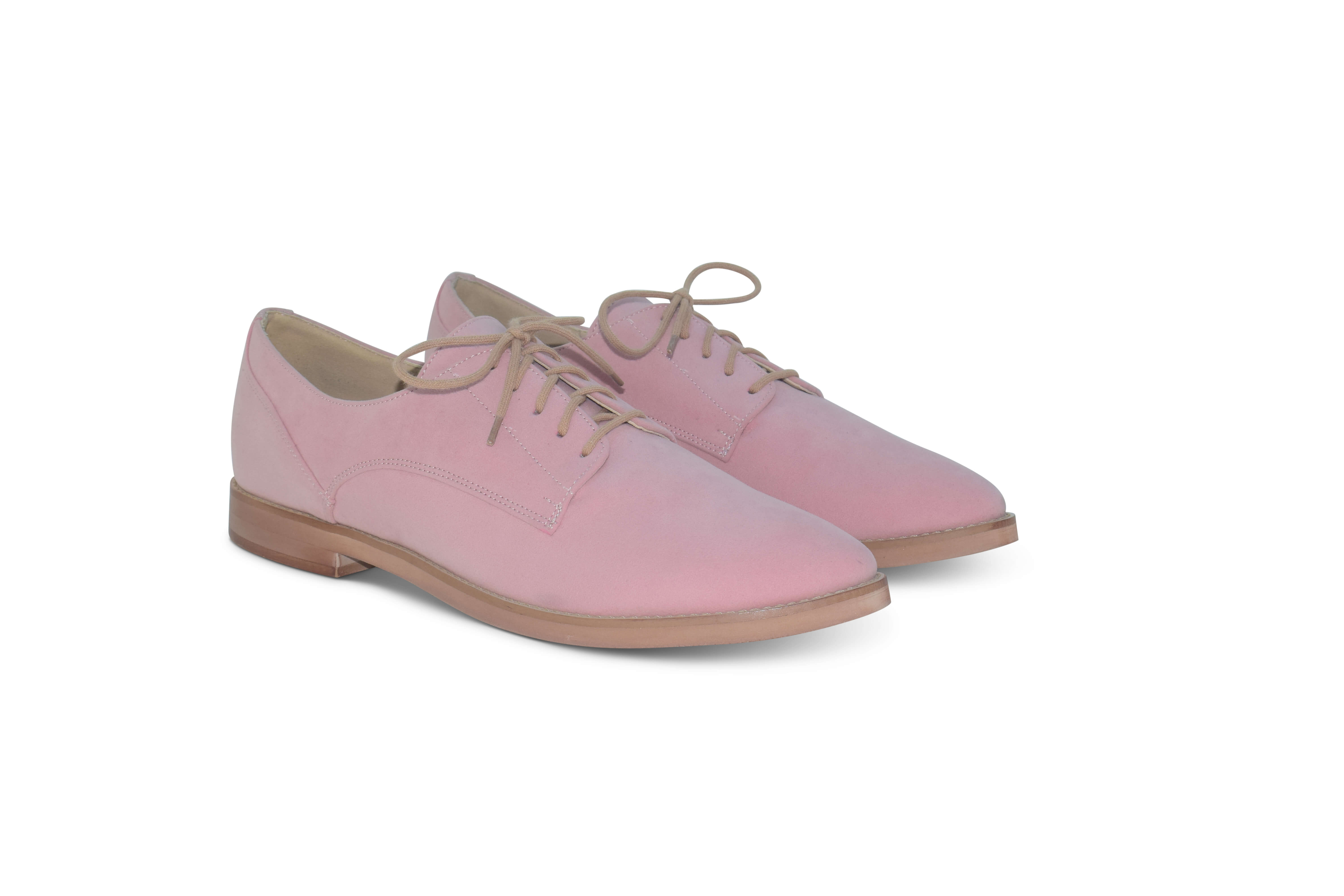 Harriett faux suede pointed toe Oxfords - pink