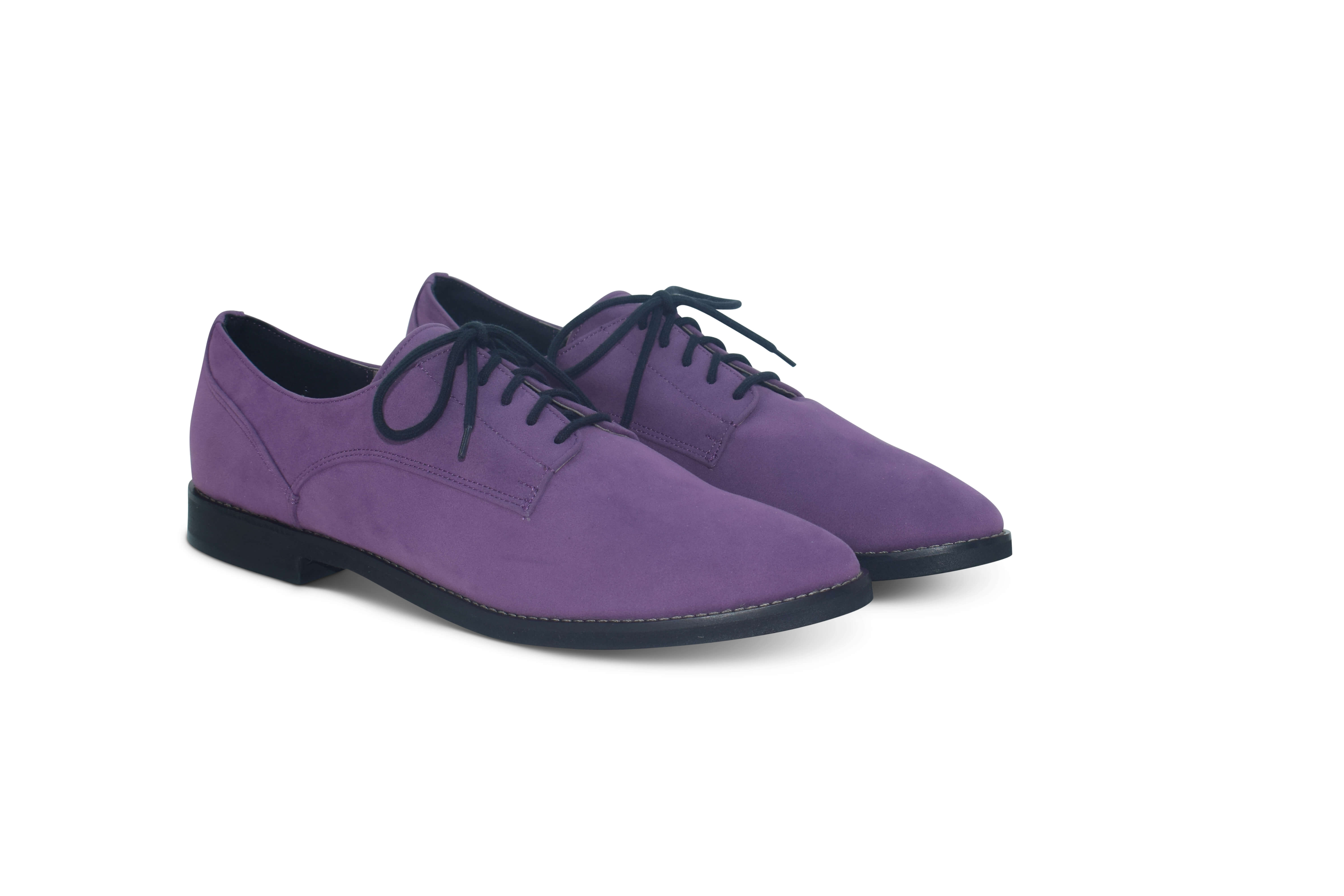 Harriett faux suede pointed toe Oxfords - purple