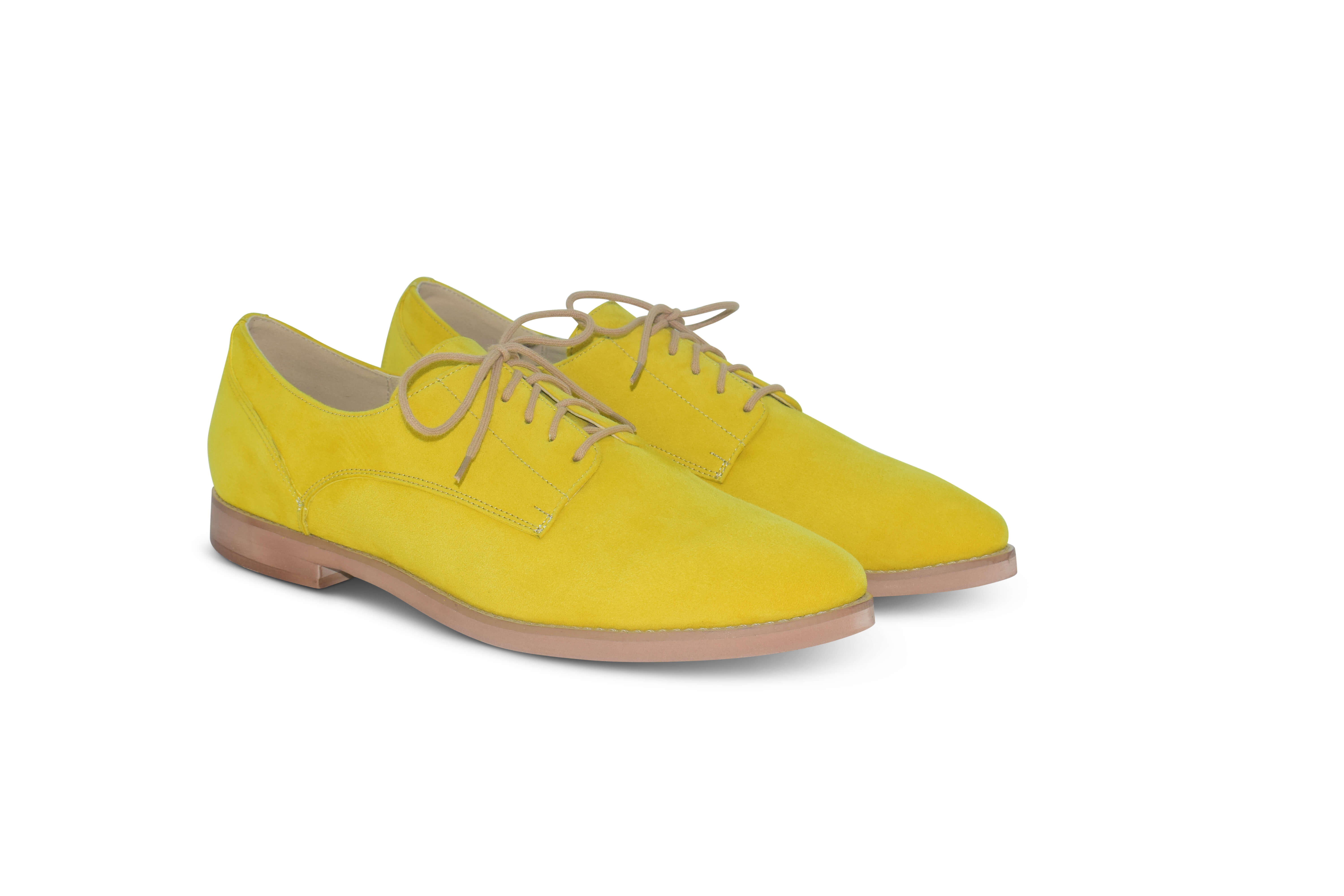 Harriett leather pointed toe Oxfords - yellow