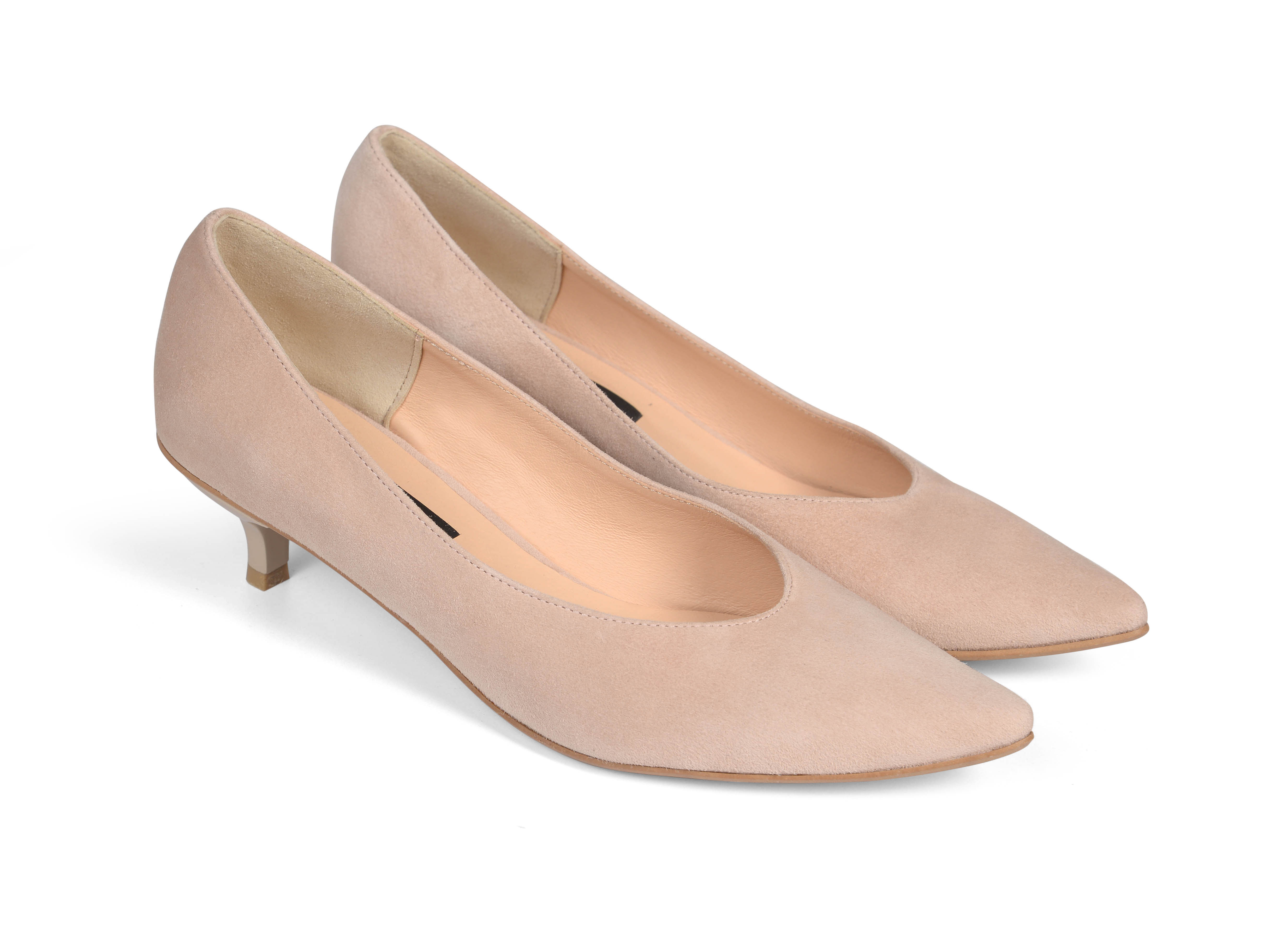 Kiki S pointed toe kitten heels - nude suede