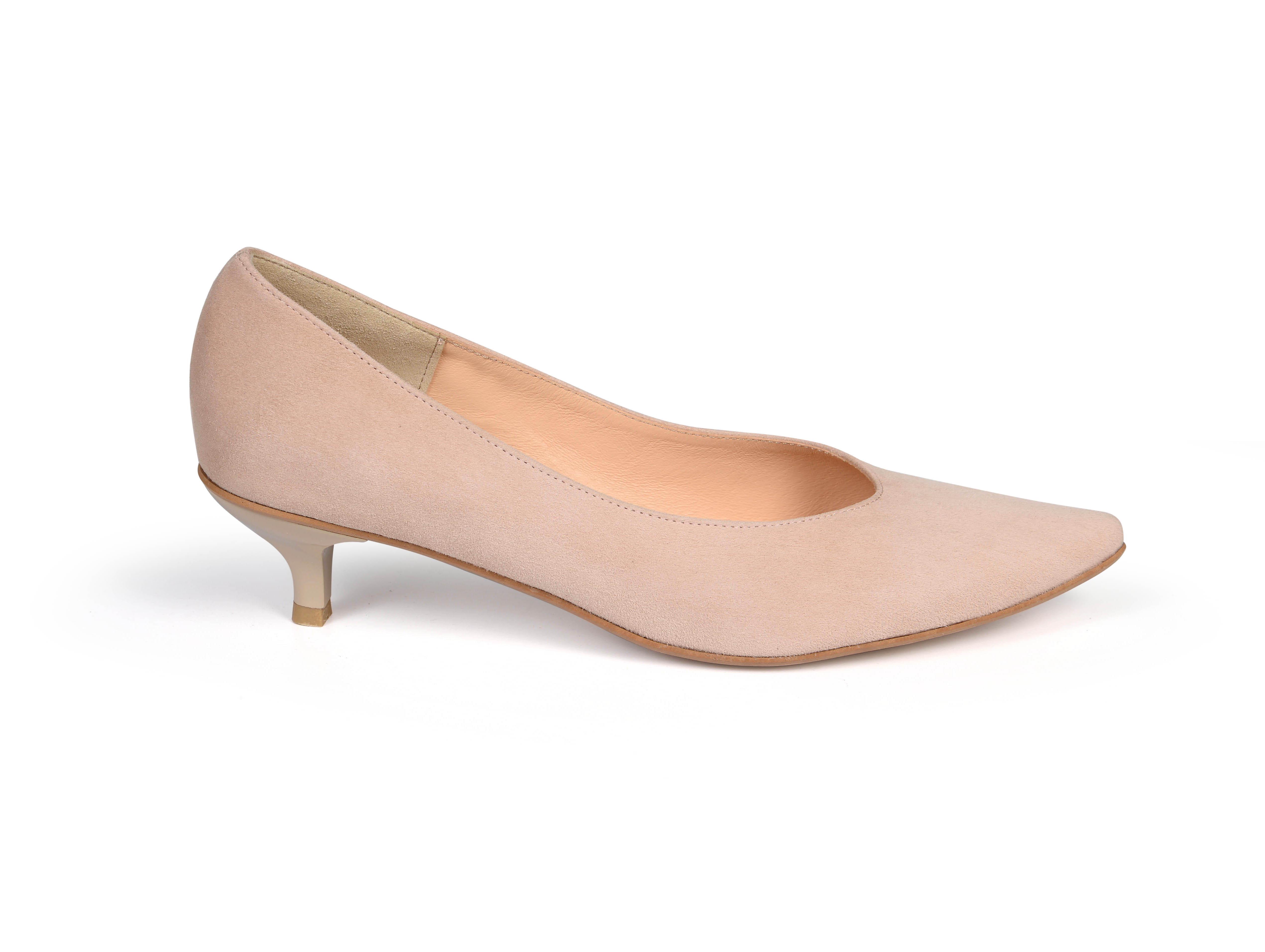 Kiki S pointed toe kitten heels - nude pink suede