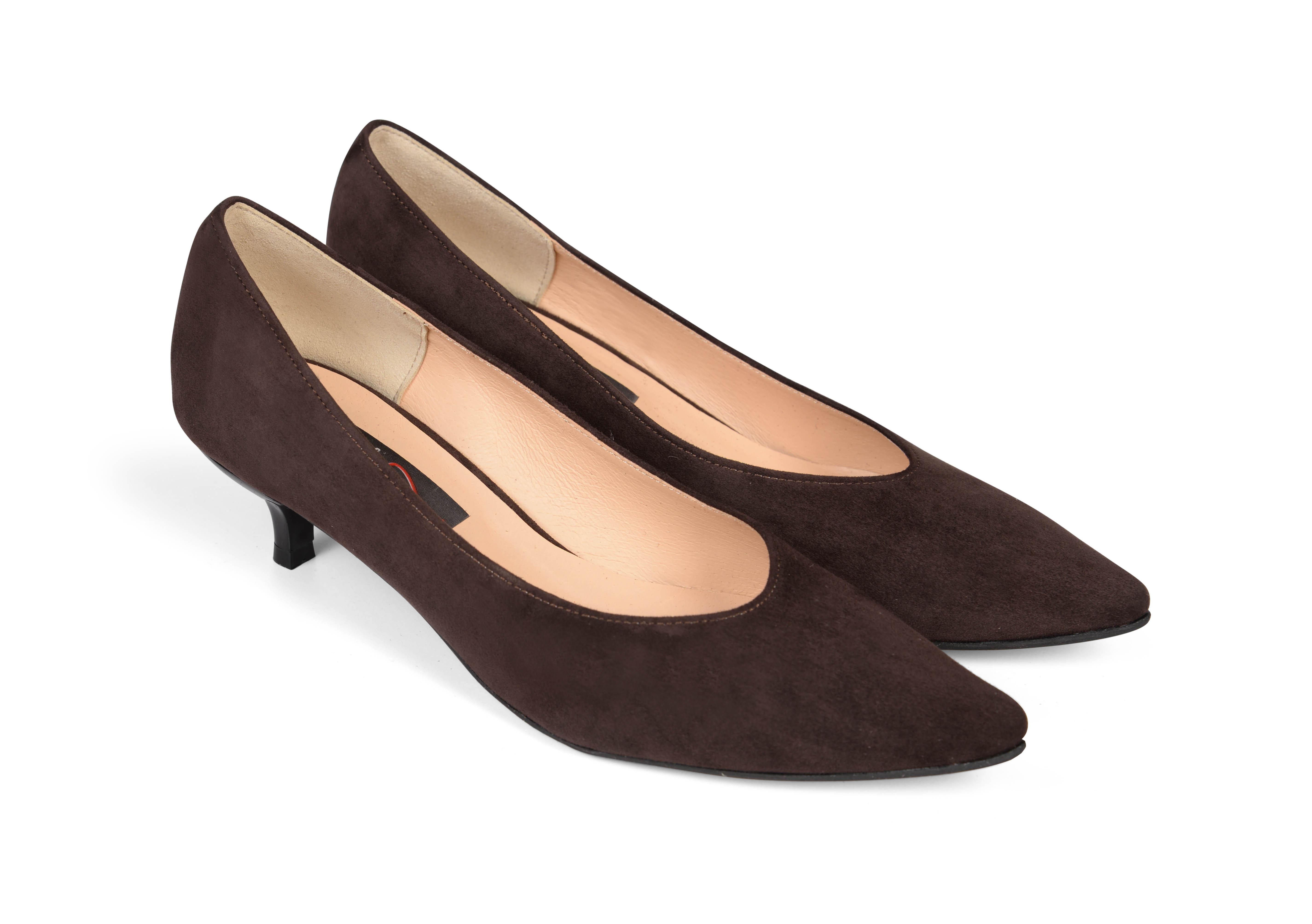 kiki S pointed toe kitten heels - dark brown