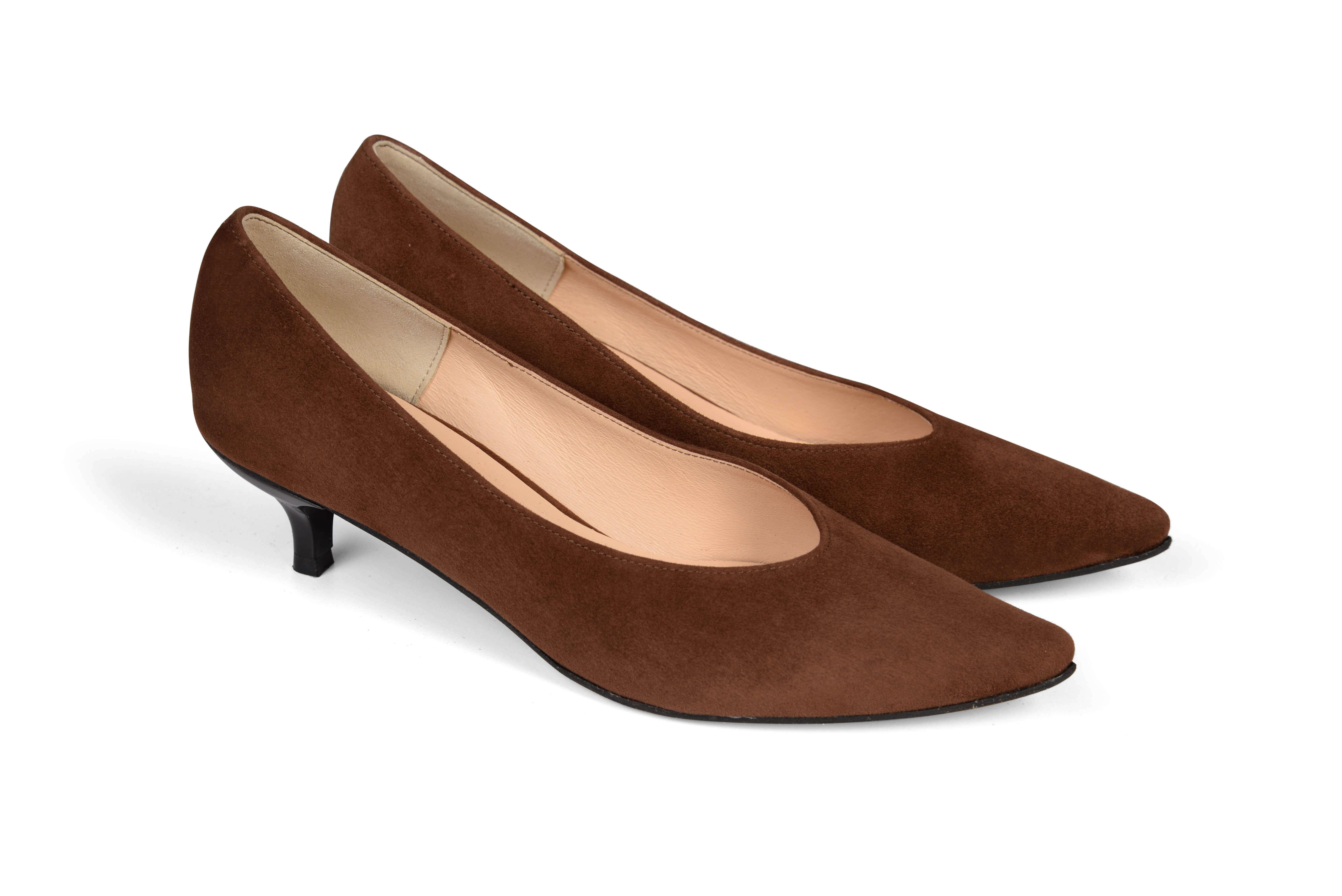 Kiki S pointed toe kitten heels - brown