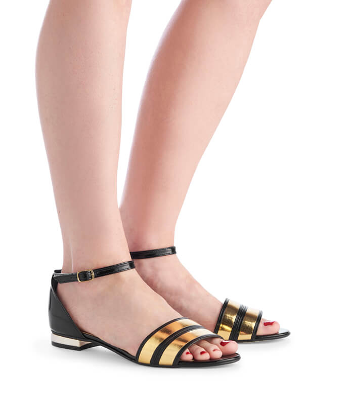 Ada black & gold leather sandals
