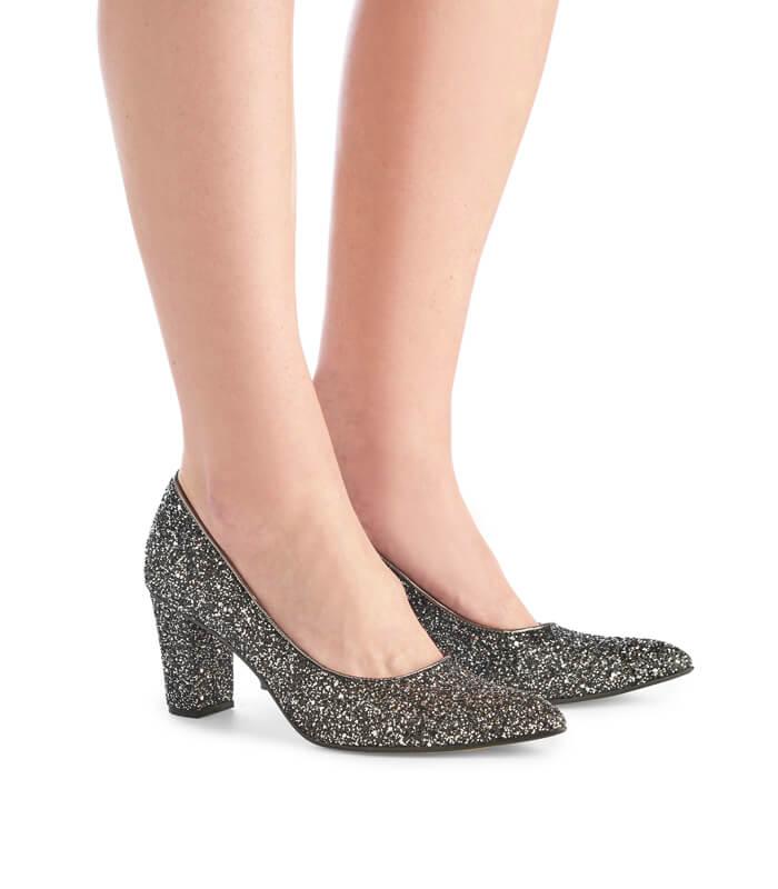 Alicia glitter high heels - charcoal