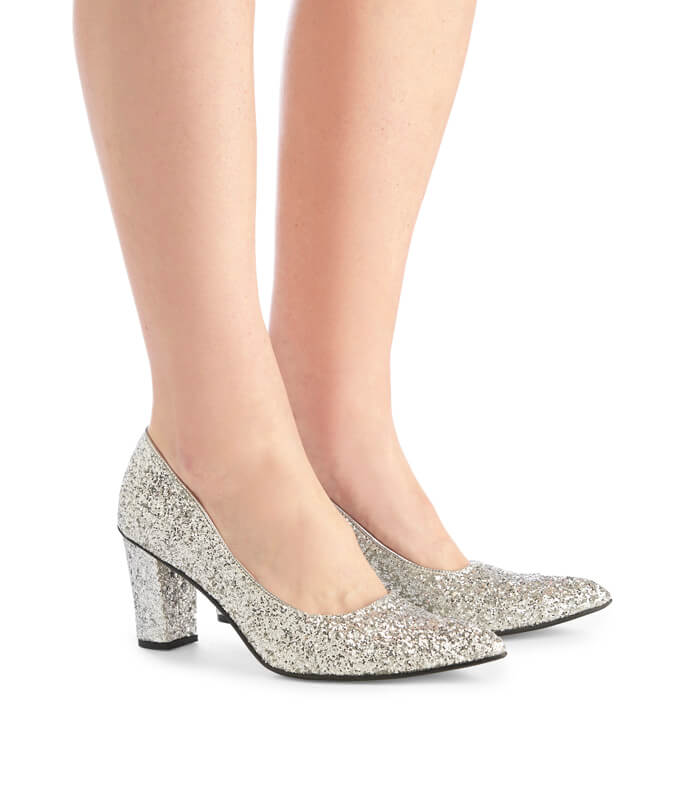 Alicia glitter high heels - silver
