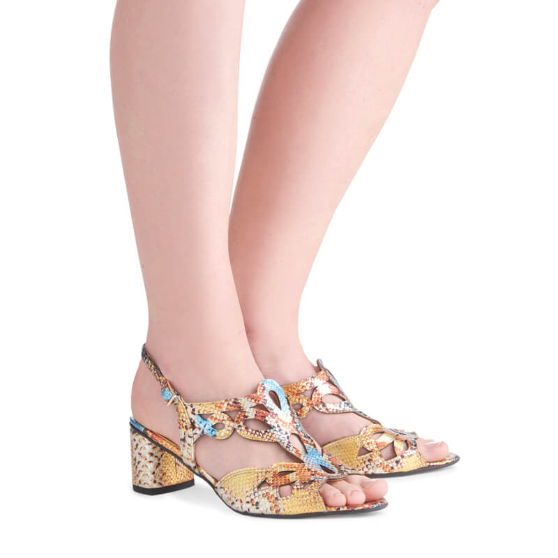 Kaya snake print leather heeled sandals