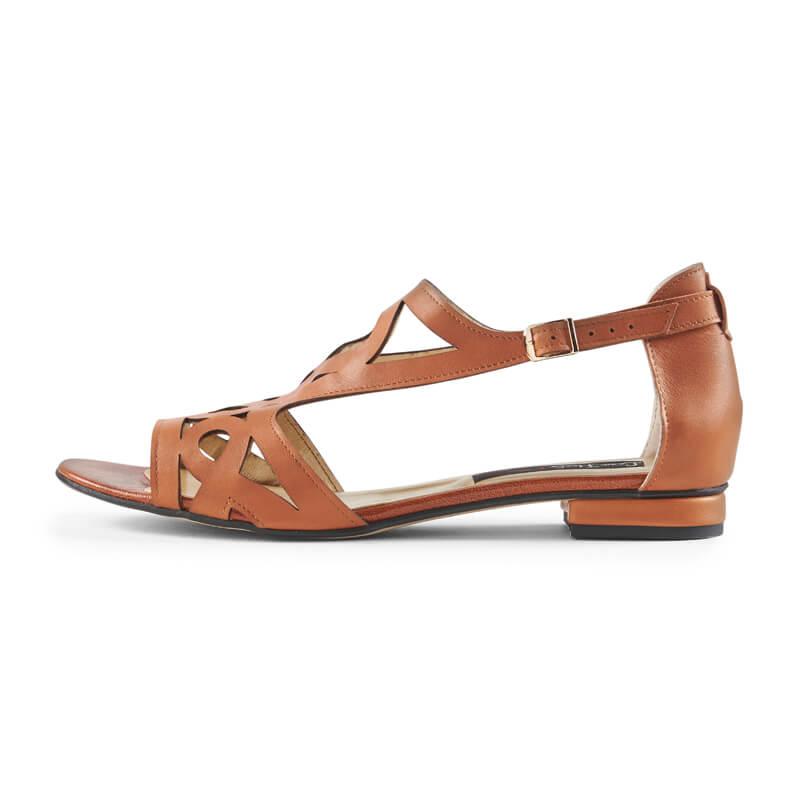 Charlotte tan leather geometric sandals