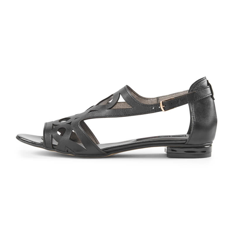 Charlotte black leather geometric sandals