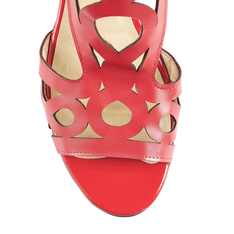 Charlotte red leather geometric sandals