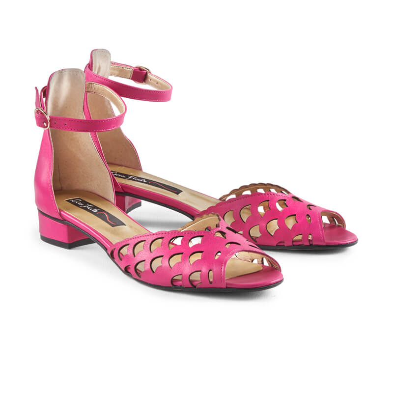 Pansy pink leather peep toe sandals
