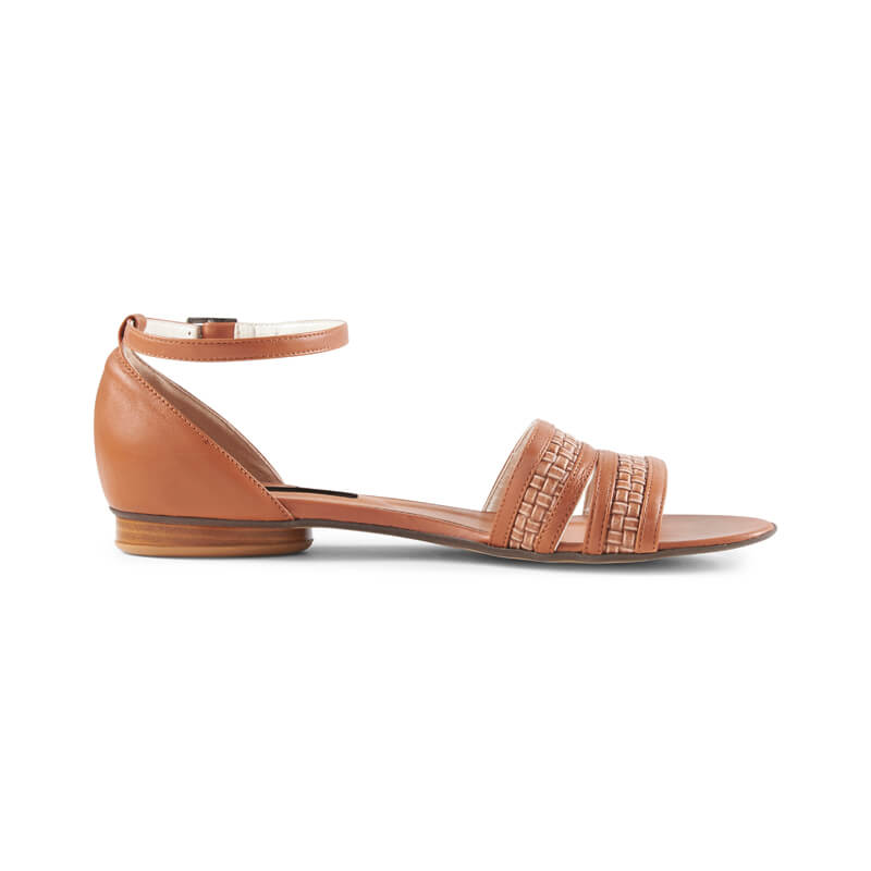 Sunny tan leather woven strap sandals