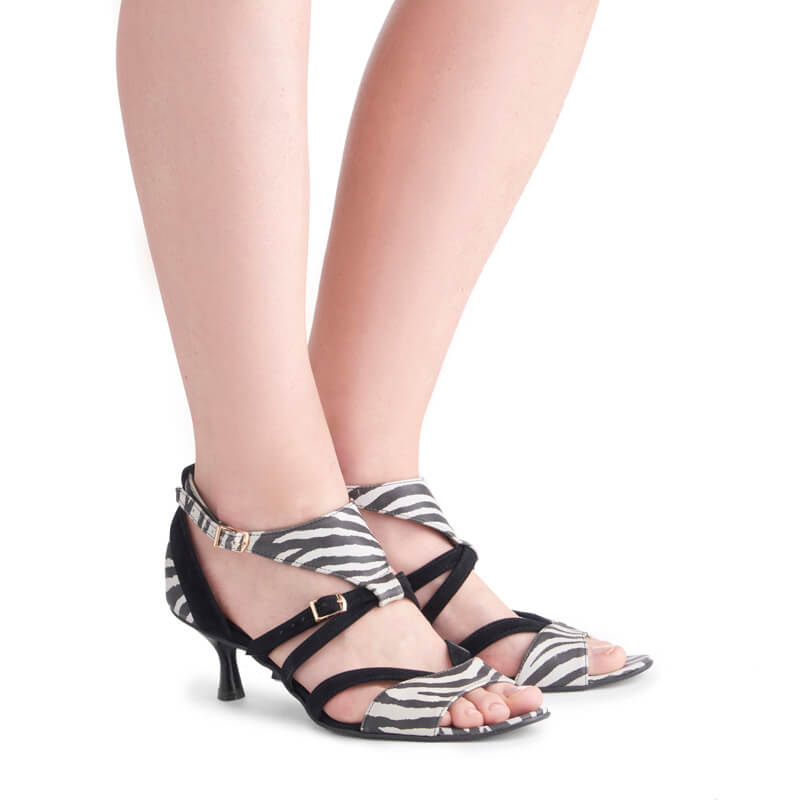 Adriana zebra print leather kitten heel sandals