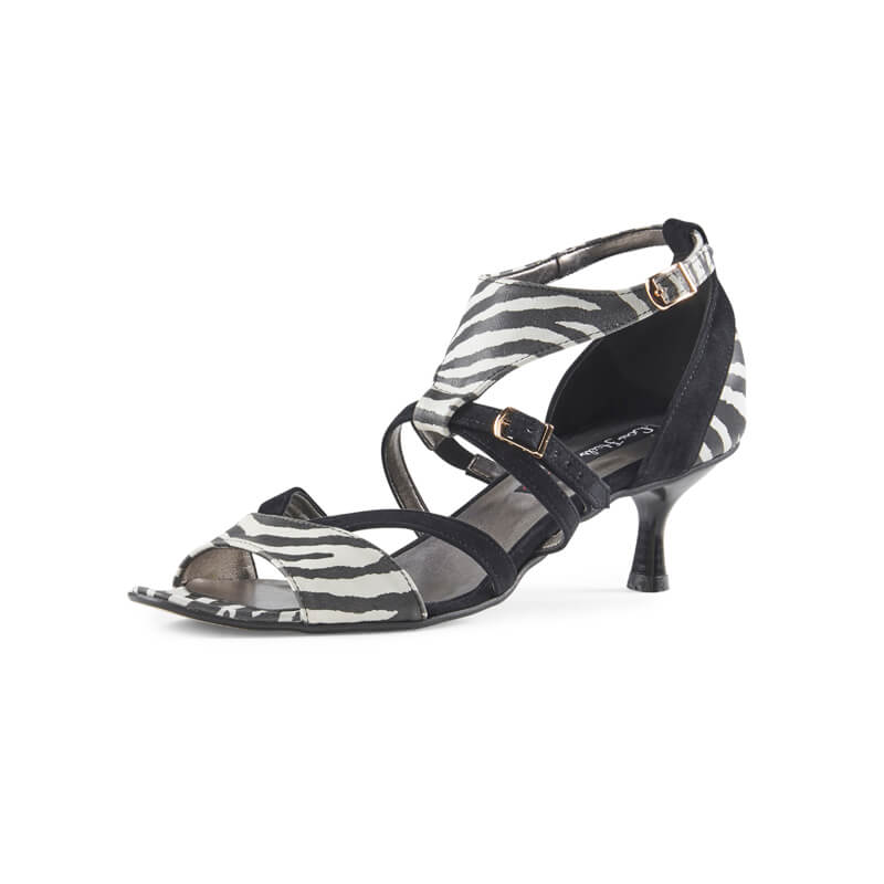 Adriana zebra print leather kitten heel sandals