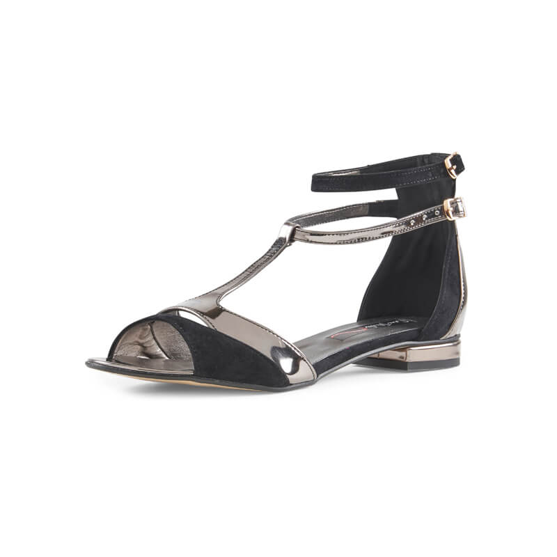 Tanya black suede & leather T-bar sandals