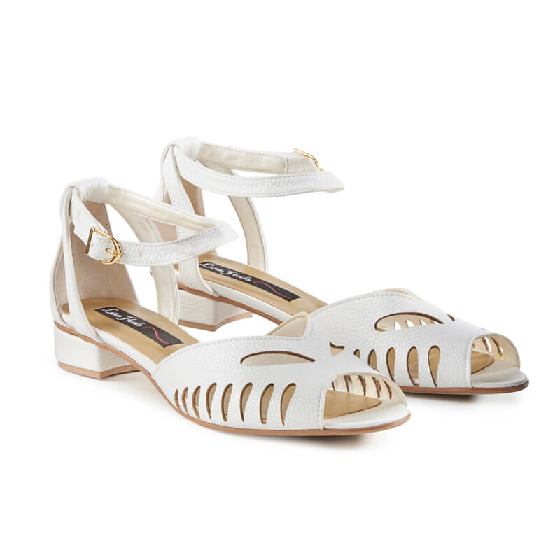 Daisy white leather peep toe sandals