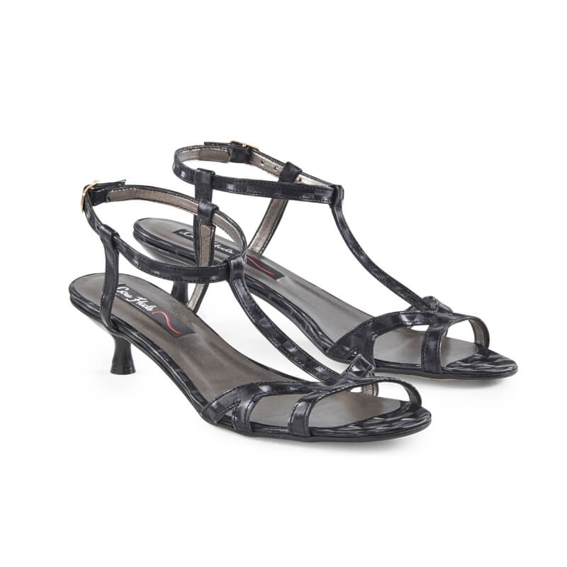 Thalia black low kitten heel sandals