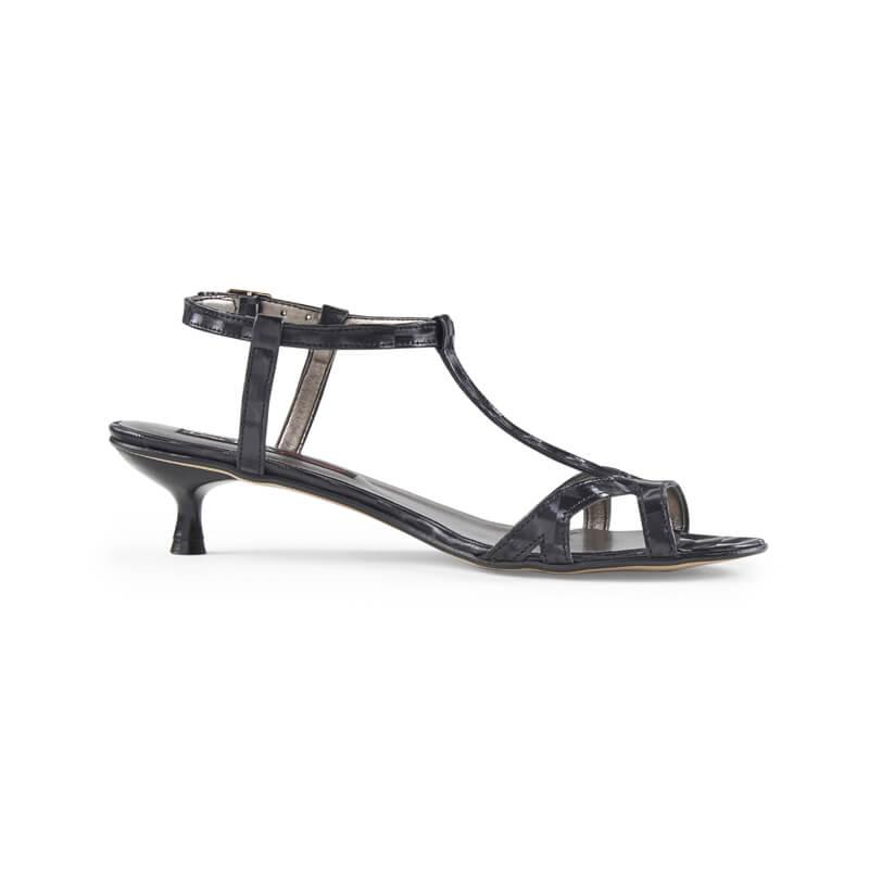 Thalia black low kitten heel sandals