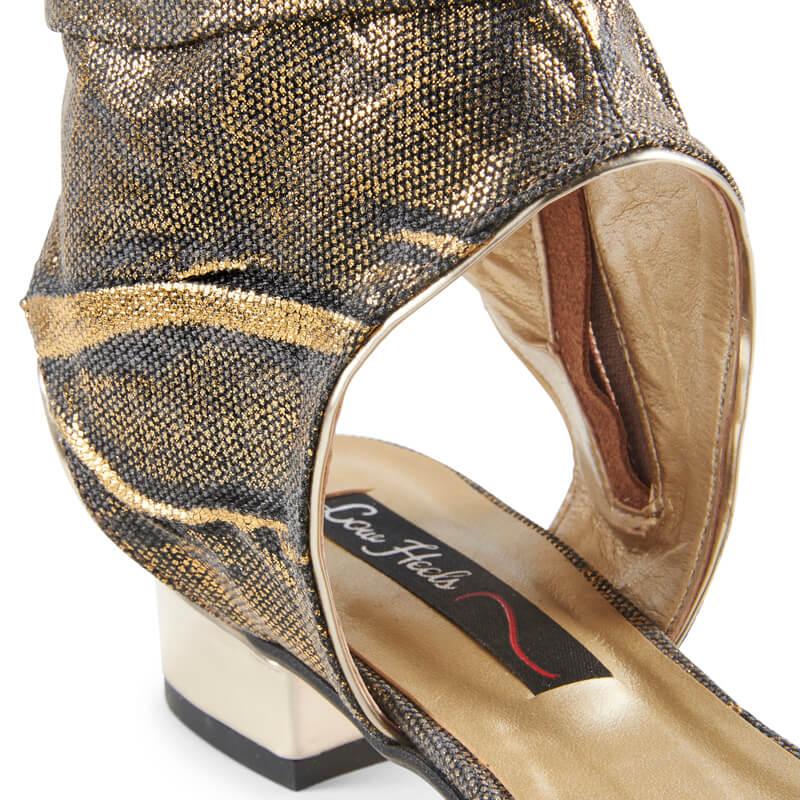 Bootie gold linen high-leg sandals