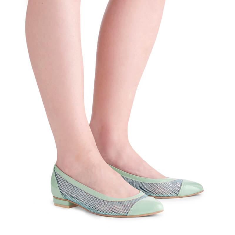 Immy patent & net ballet pumps
