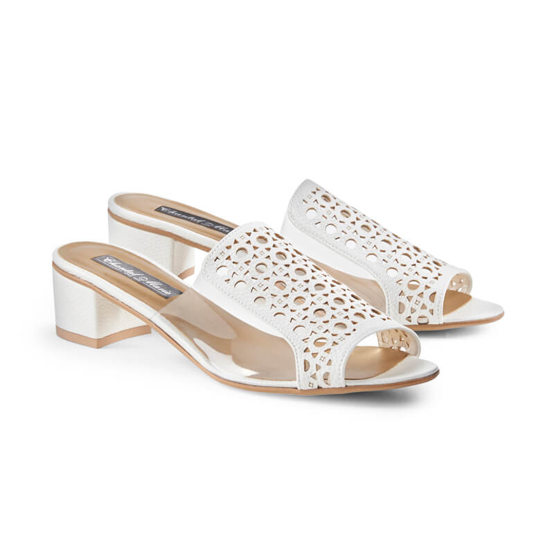Lily white leather laser-cut sandals