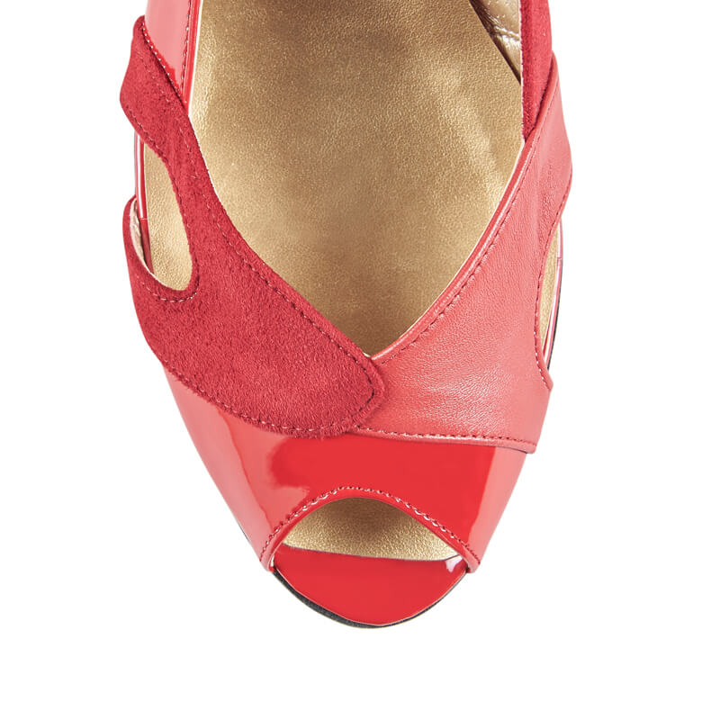 Poppy red leather peep toe flat sandals